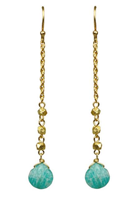 Amazonite Linear Drop Earrings