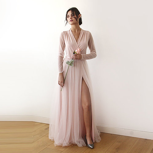 Pink Wrap Tulle Gown With Chiffon Mesh Sleeves   #1174