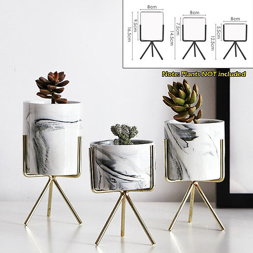 1 PC Nordic Minimalism Style Marble Pattern Golden Ceramics Iron Art Vase