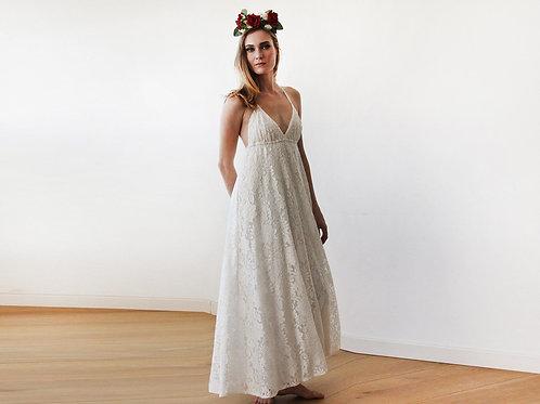 Lace V-Neck Beach Wedding Maxi Dress 1140