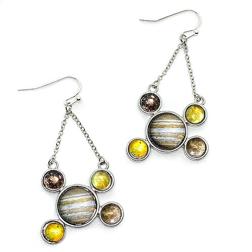 Jupiter and Galilean Moons Dangle Earrings