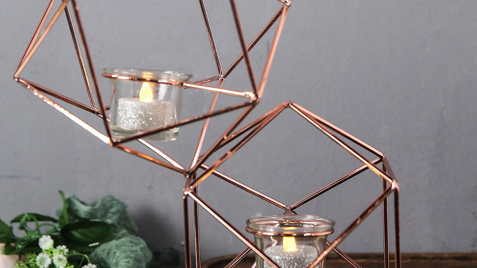 """25"""" Rose Gold Geometric Candle Holder Set - Linked Metal Geometric Centerpieces"""
