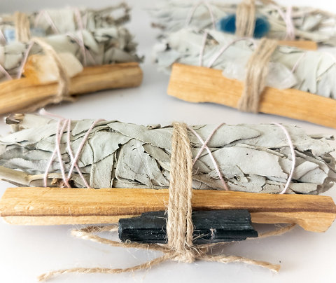 Palo Santo, Sage & Crystal Smudging Bundle