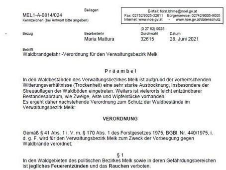 Waldbrandgefahr - Verordnung für den Verwaltungsbezirk Melk