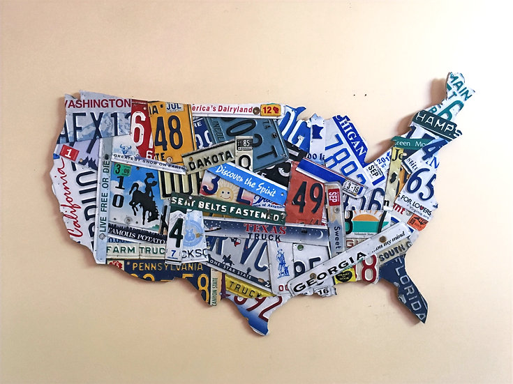 Batch work Style License Plate Map with all 50 States
