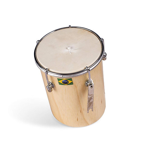 "Ciuca - Afro Brasilian Leather Natural Wood Drum - Capoeira - 6"""