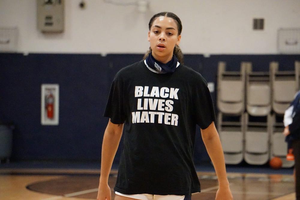 Jordana Codio Wears Her BLM Shirt Before Basketball Game