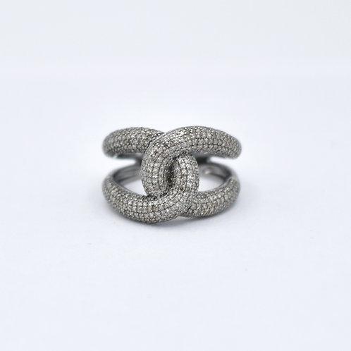 INTERLOCKED STERLING SILVER DIAMOND RING