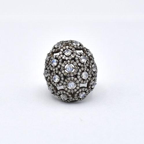 MOONSTONE & DIAMOND BUBBLE RING