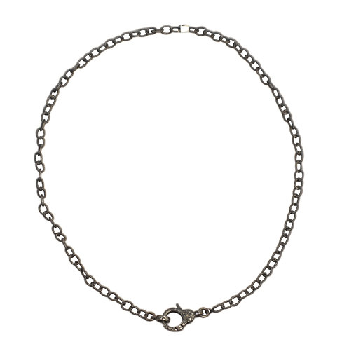 SMALL LINK OXIDIZED STERLING SILVER CABLE CHAIN W/ DIAMOND LOBSTER CLAW