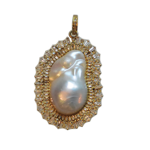DIAMOND GOLD FRESHWATER BAROQUE PEARL