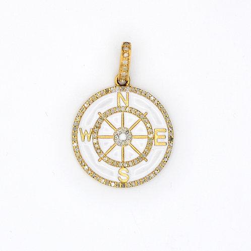 DIAMOND GOLD WHITE ENAMEL COMPASS