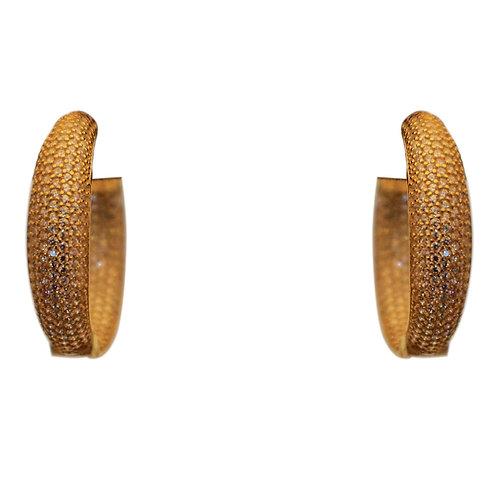 MEDIUM CRYSTAL GOLD HOOP EARRINGS