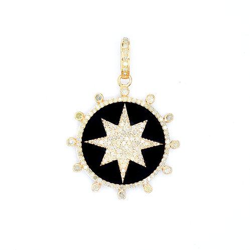 BLACK ONYX & GOLD VERMEIL DIAMOND STAR