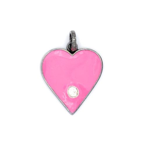 PINK ENAMEL HEART W/ DIAMOND -STERLING SILVER