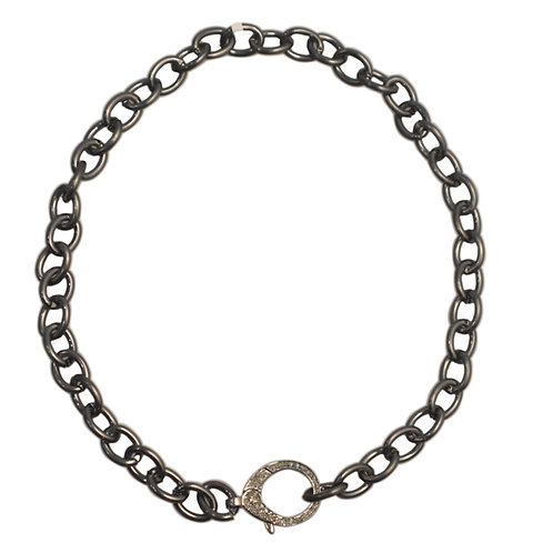 LARGE LINK OXIDIZED STERLING SILVER POLISHED CHAIN W/ DIAMOND LOBSTER CLAW