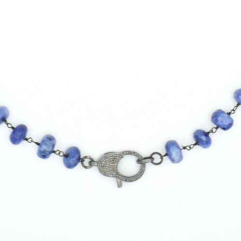 BLUE MOONSTONE BEADED NECKLACE W/ DIAMOND LOBSTER CLAW