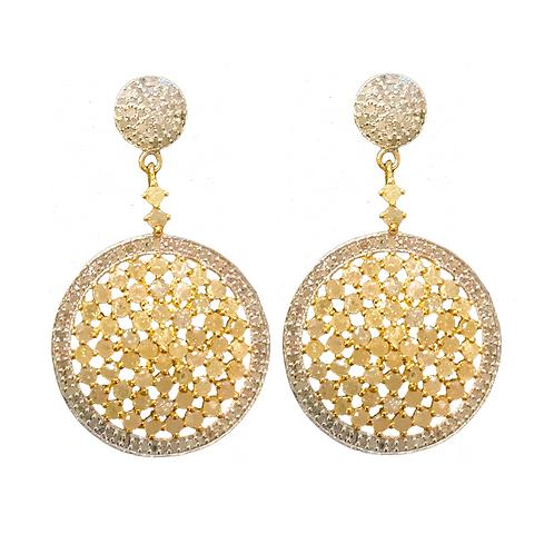 YELLOW & WHITE DIAMOND GOLD  DISC EARRINGS