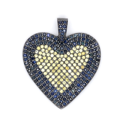 LARGE BLUE AND YELLOW SAPPHIRE HEART
