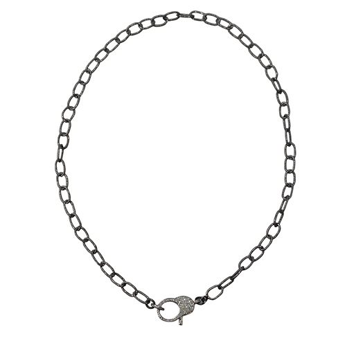 LARGE LINK OXIDIZED STERLING SILVER CABLE CHAINW/ DIAMOND LOBSTER CLAW
