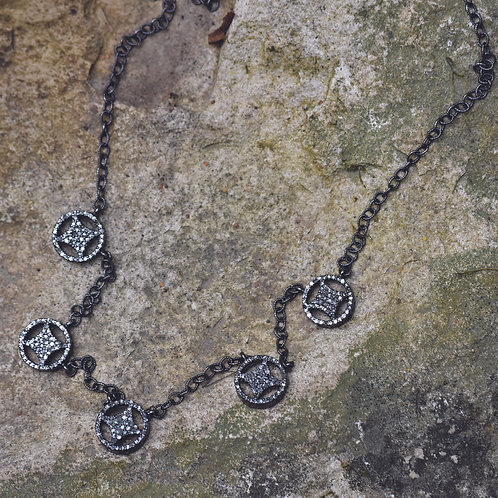 OXIDIZED STERLING SILVER DIAMOND CIRCLE NECKLACE