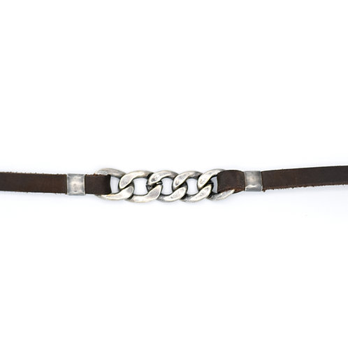 SILVER CUBAN LINK & BROWN LEATHER