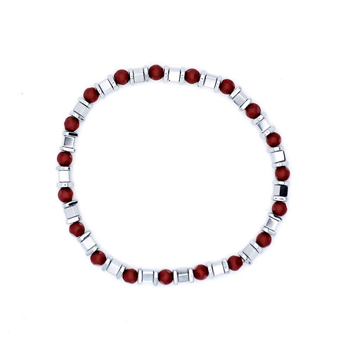 SILVER AND RED STONE BEADED STRETCHY BRACELET