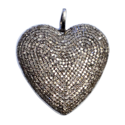 EXTRA LARGE DIAMOND STERLING SILVER PUFFY HEART