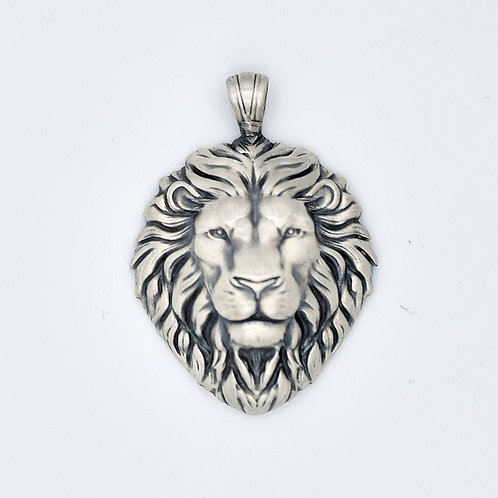ALL SILVER CARVED LION HEAD