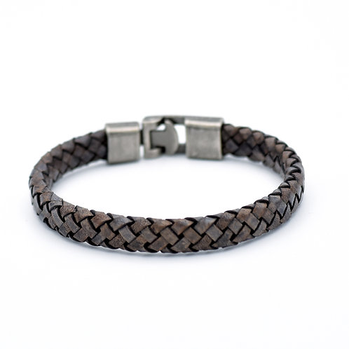 DISTRESSED LIGHT BROWN WOVEN LEATHER