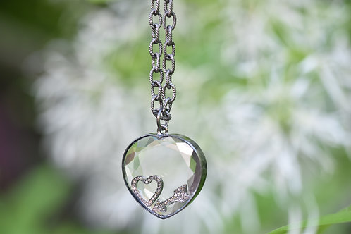 FLOATING STERLING SILVER HEART NECKLACE