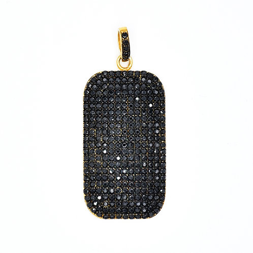 BLACK SPINNEL GOLD VERMEIL DOG TAG