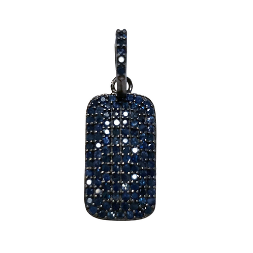 EXTRA SMALL BLUE SAPPHIRE DOG TAG