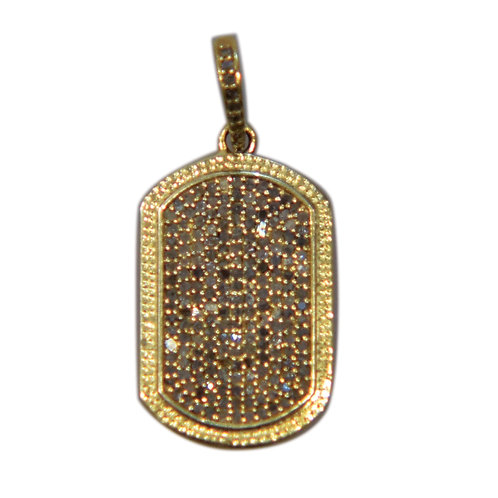 LARGE DIAMOND GOLD DOG TAG
