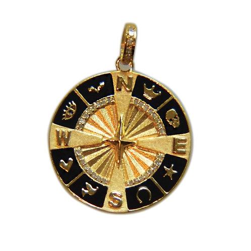 DIAMOND BLACK ENAMEL GOLD COMPASS
