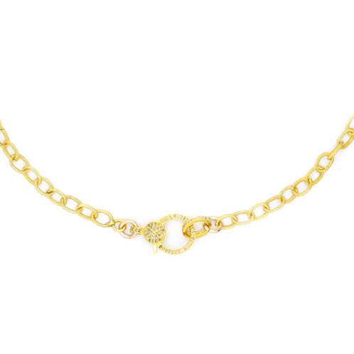 SMALL LINK GOLD CABLE CHAIN W/ DIAMOND LOBSTER CLAW