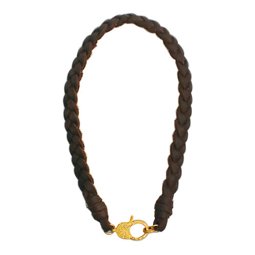 CHOCOLATE BROWN LEATHER & DIAMOND LOBSTER CLAW NECKLACE