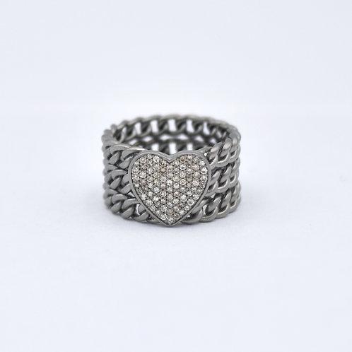 HEART DIAMOND CHAIN LINK RING