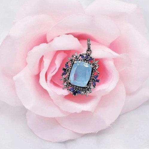 AQUAMARINE STONE IN STERLING SILVER W/ BLUE SAPPHIRES & BAGUETTE DIAMONDS