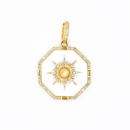 MOTHER OF PEARL & GOLD VERMEIL DIAMOND OCTOGON STARBURST