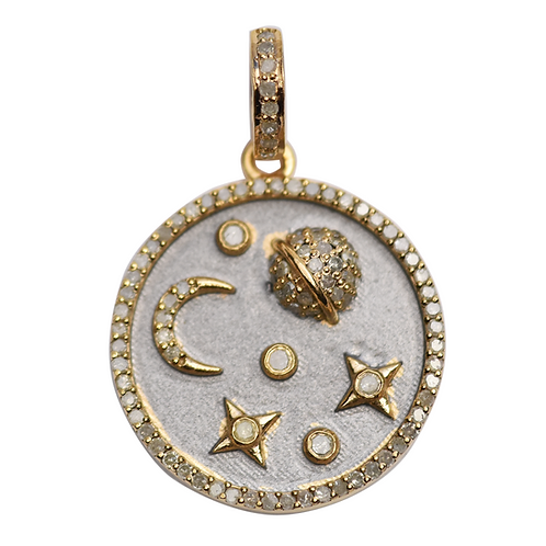 DIAMOND GOLD & GRAY ENAMEL CELESTIAL