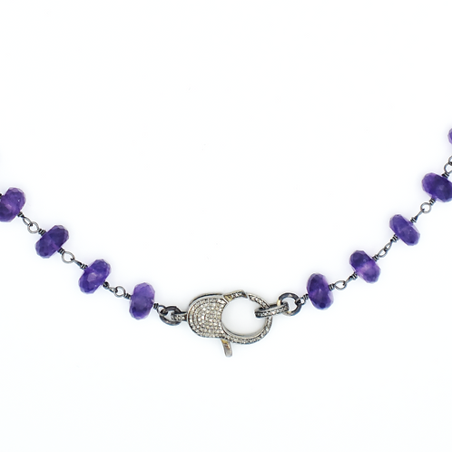 AMETHYST BEADED NECKLACE W/ DIAMOND LOBSTER CLAW