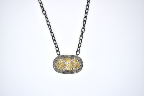 MIXED METAL DIAMOND WIDE OVAL NECKLACE