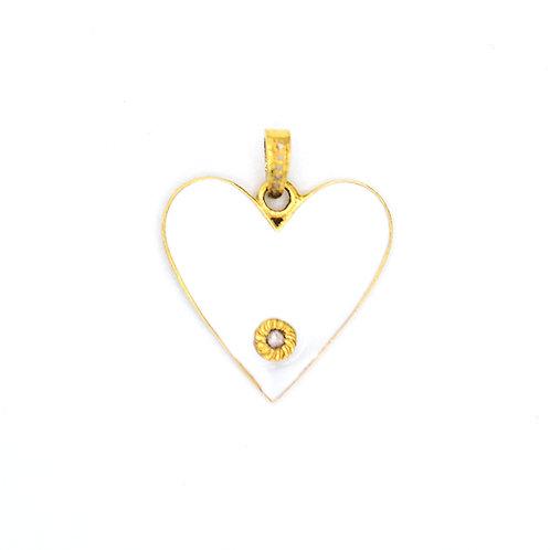 WHITE ENAMEL HEART W/ DIAMOND -GOLD VERMEIL