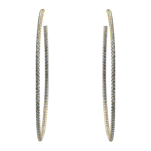 EXTRA EXTRA LARGE GOLD CRYSTAL HOOP EARRINGS