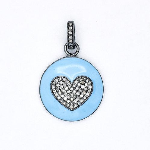 DIAMOND HEART ON BLUE ENAMEL