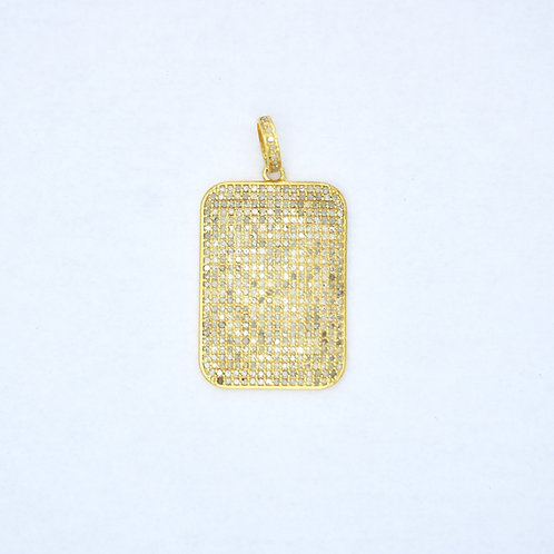 LARGE DIAMOND GOLD DOG TAG