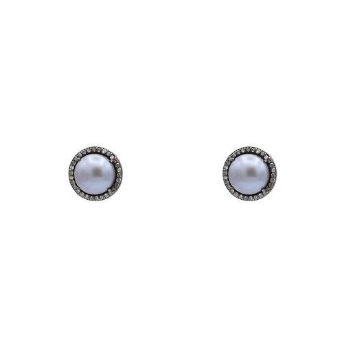 GRAY FRESHWATER PEARL & DIAMOND POST EARRINGS