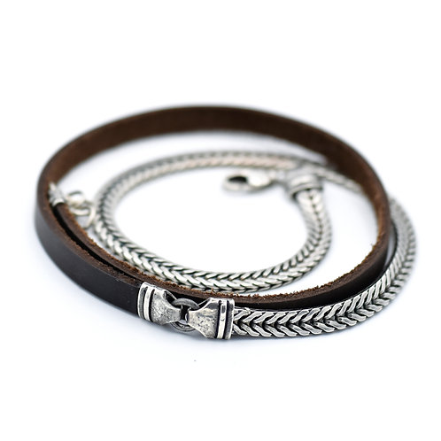 SILVER FISH TAIL LINK & BROWN LEATHER WRAP BRACELET