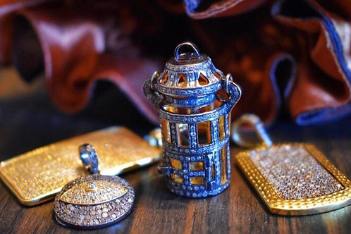 STERLING SILVER AND GOLD VERMEIL ALL DIAMOND LANTERN